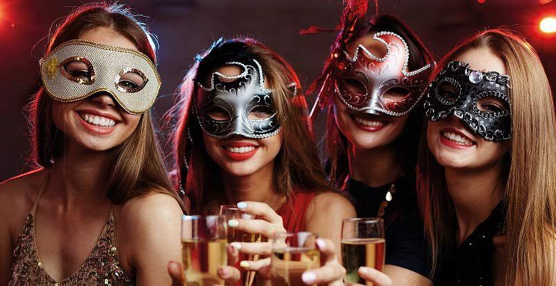 girls on a masquerade party